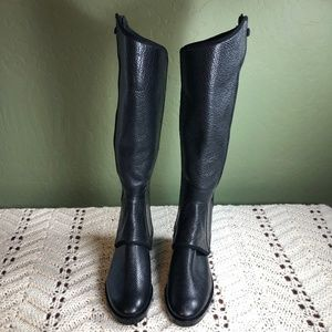 Tory Burch Milburn Black Leather Suede Riding Boot